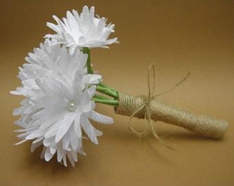 Wedding Rustic Paper Flowers Bouquet/ Wedding Bouquet/ Rustic Wedding/ Wedding Decor/ White Flowers/ Bridal/ Bridesmaid