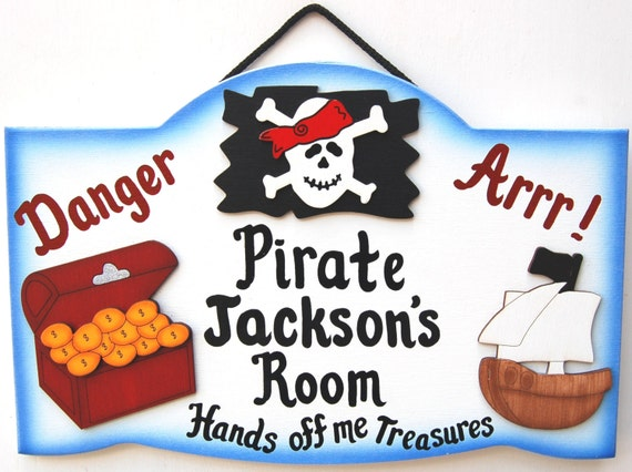Personalized pirate kids room sign for Kids room signs