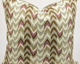 SALE - Waverly Living Color Chevron Stripe Twill Sterling Indoor Pillow cover with Solid Color Backing Fabric and Zipper