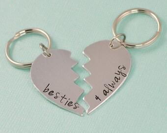 Besties Hearts Keychain Set - Best Friend Gift