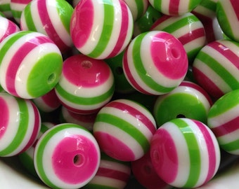 20mm Hot Pink, Green & White Striped Beads