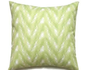 Green Chevron Pillow Cover, Green Designer 16x16 Pillow Cover, Cushion Covers, Rhodes Kiwi