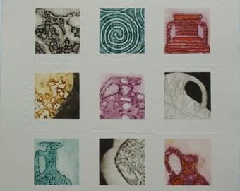 Roman Pots II - An Original Collograph Print