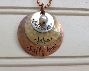 Custom Hand Stamped Family 3 Name Necklace on Copper Chain