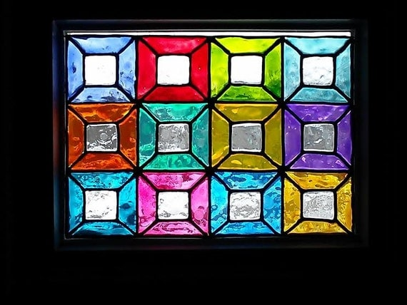 Faux stained glass window panel by groovyglassboutique on etsy for Make your own stained glass window film