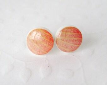 Stud earrings handmade. Stud earrings hibiscus petals. Earrings. Flower petals.