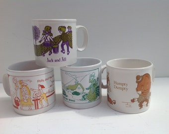 Set of Four Vintage Staffordshire Pottery Nursery Mugs featuring Nursary Rhyme Characters.