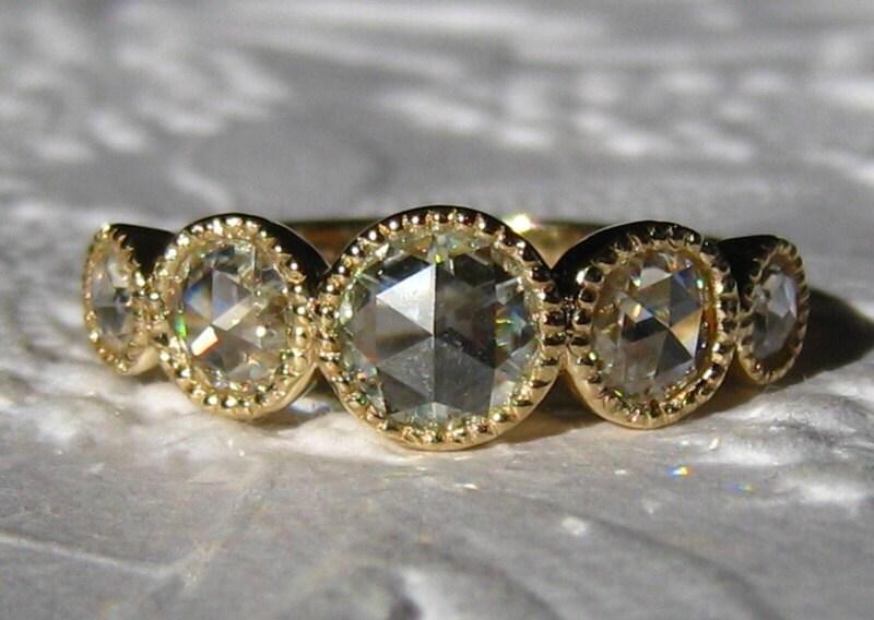 Rose Cut Moissanite In Milgrain Bezel 5 Stone Gold Engagement