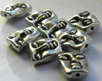 Tibetan Antique silver Buddha face beads DIY jewelry supplies