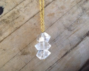 Triple Stack Quartz Crystal Point Necklace