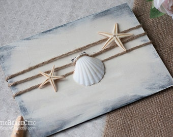Beach Wedding Guest Book, Shell Wedding Guestbook, Nautical Guest Book Pen Holder, Rustic Guest Book Alternative, Rustic Wedding Pen