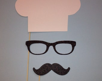 Photo Booth Props - 3 Piece Chef Set - Chefs Hat - Photobooth Props