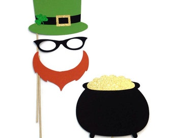 Photo Booth Props- St Patricks Day Props- Holiday Photo Booth with Glitter