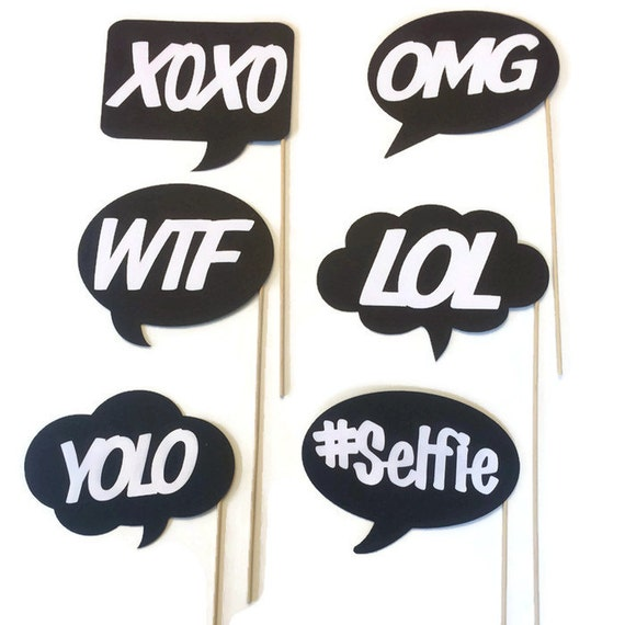 Photo booth props fun and funky word bubbles 6 piece photo for Photo booth speech bubble template