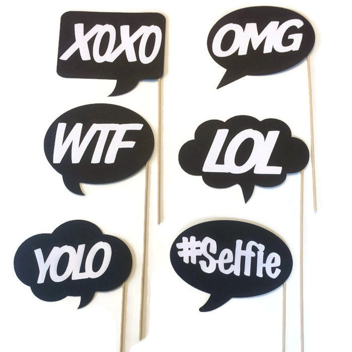 Photo Booth Props Fun and Funky Word Bubbles 6 Piece Photo