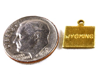 6x Brass Engraved Wyoming State Charms - M057-WY
