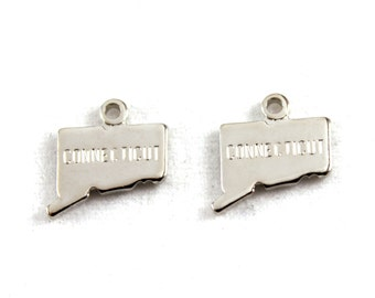2x Silver Plated Engraved Connecticut State Charms - M072-CT