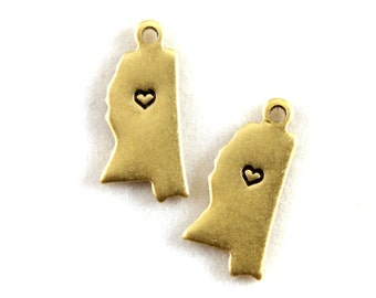 2x Brass Mississippi State Charms w/ Hearts - M073/H-MS
