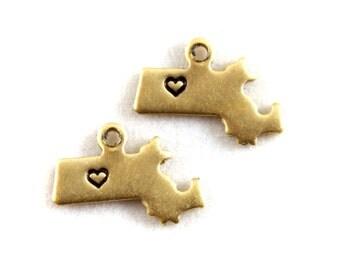 2x Brass Massachusetts State Charms w/ Hearts - M073/H-MA
