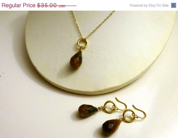 Christmas In July- Tiger's Eye Dainty Necklace & Earring Set- Gold Plated Sterling