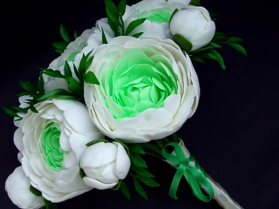 Clay wedding bouquet and boutonniere set, Bridal bouquet, White and green peonies , Natural look bouquet