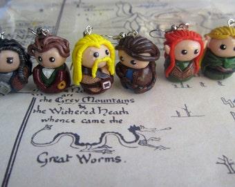 Polymer Clay Chibi Hobbit charms (listing for ONE CHARM ONLY) - Thorin, Bilbo, Fili, Kili, Legolas, Tauriel