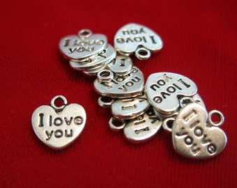 """BULK! 30pc """"I love you"""" charms in antique silver (BC85B)"""