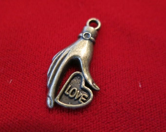 """8pc """"Love"""" charms in antique bronze style (BC174)"""