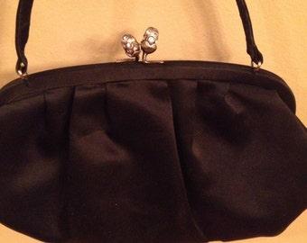 Vintage Laura Ashley Black Satin Evening Bag