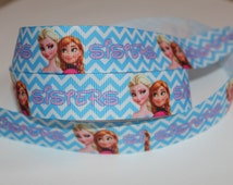 "1 Yard of Frozen Sisters 7/8"" Grosgrain Ribbon"