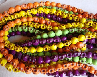 skull beads, day of the dead, 10mm beads  one full solid color strand