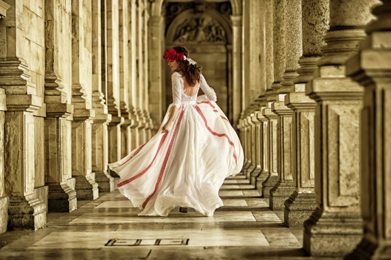 Red and white bohemian wedding dress