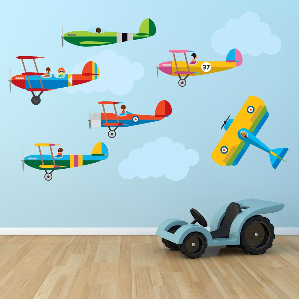 planes children s bedroom wall stickers decals wall stickers glorious wall stickers
