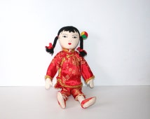 Classic Old Vintage Cloth Asian Doll - sewn on features -yarn hair-traditional dress /MEMsArtShop.