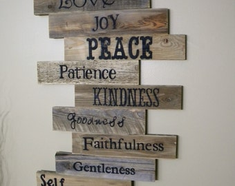Wood Sign, Pallet Sign, Pallet Art, Fruits of the Spirit, Scripture Art, Wall Decor, Gift Ideas, Wedding Gift, Wooden Sign, Distressed Wood