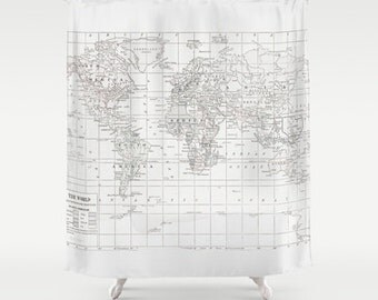 White on White World Map Shower Curtain - Historical map - Home Decor - Bathroom - travel decor, minimalist, fabric, bathroom, crisp, clean