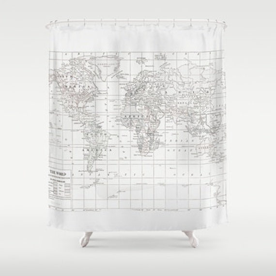 White on White World Map Shower Curtain - Historical map - Home Decor - Bathroom - travel decor, minimalist, fabric, bathroom,