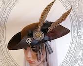 Steampunk Tricorn (Goth, steampunk, brown, hat, )
