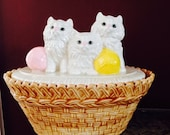 Three Little Persian Kittens Drip Pottery Cookie Jar