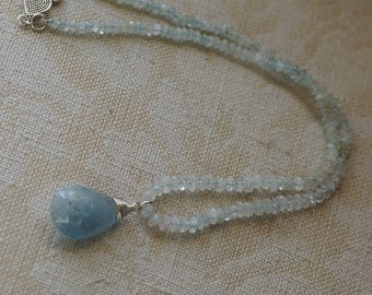 Ref:145/ Moss Aquamarine gemstone silver necklace and aquamarine pendant.
