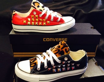 Studded Leopard Print Converse Shoes