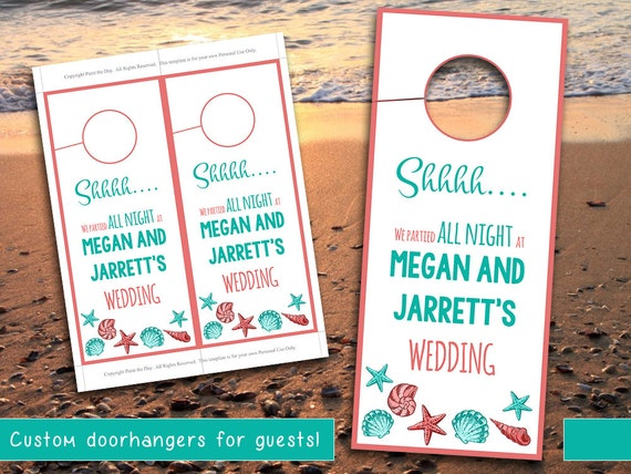 Beach Wedding Door Hanger Template Seashell Coral Teal