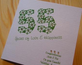 Handmade Card - Wedding Anniversary 55th Emerald - personalised
