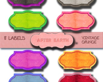 Colored labels digital clipart set for Personal and Commercial Use, paper crafts, card making, scrapbooking, web design, DIY