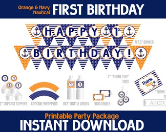 Instant Download Navy, Orange Nautical First Birthday Package, Banner, Cupcake toppers, wraps, Thank You tags, cards, Food labels ( PDN046 )