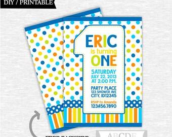 Blue, Orange, Yellow and Lime green Polka Dots Baby Boy First Birthday invitation 5x7, Polka Dots , DIY Printable  (PDMD009)