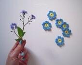 Forget me nots  - set of 10 little blue crochet flowers - forget-me-nots - myosotis