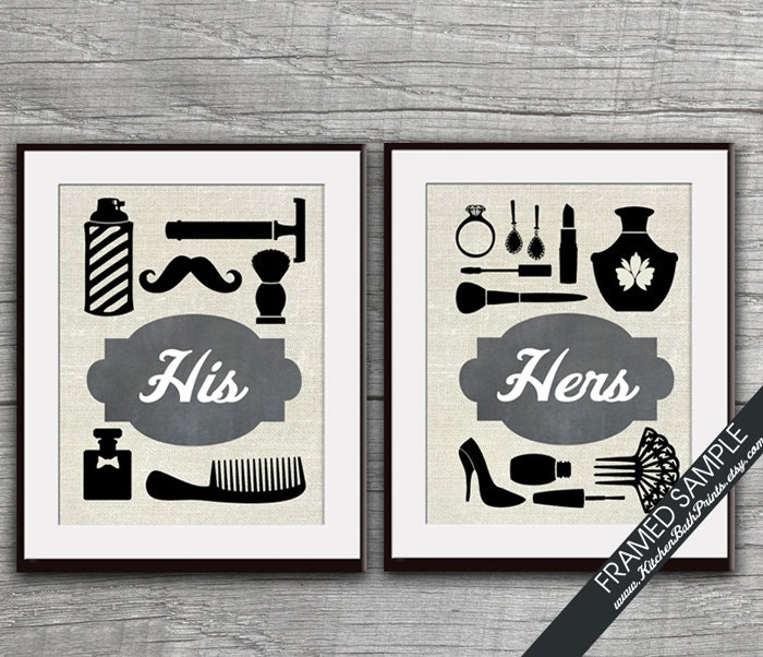 His and hers bathroom prints set of 2 art print featured for His hers bathroom decor