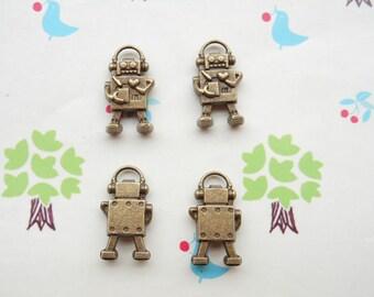 100pcs 17x10mm Antique Bronze Lovely The Mini Robot's Love Charm Pendant