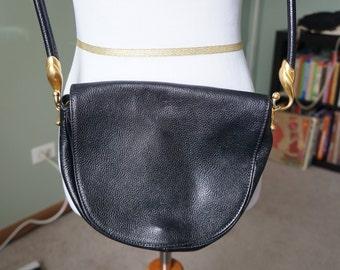 Black Leather Italian DeVecchi Vintage Purse by Hamilton Hodge